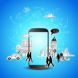 Κινητός κόσμος τεχνολογίας διανυσματική απεικόνιση