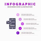 Κινητός, μήνυμα, Sms, συνομιλία, που λαμβάνει το στερεό εικονίδιο Infographics 5 Sms υπόβαθρο παρουσίασης βημάτων απεικόνιση αποθεμάτων