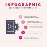 Κινητός, σχέδιο, θέτοντας στερεό εικονίδιο Infographics 5 υπόβαθρο παρουσίασης βημάτων απεικόνιση αποθεμάτων