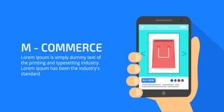 Κινητό εμπόριο, on-line που ψωνίζει, ε-πληρωμή, επιχειρηματίας που κρατά μια κινητή συσκευή, που επιδεικνύει ένα προϊόν on-line διανυσματική απεικόνιση