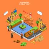 Κινητό επίπεδο isometric διάνυσμα ανάπτυξης παιχνιδιών ελεύθερη απεικόνιση δικαιώματος