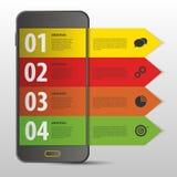 Κινητό πρότυπο σχεδίου Infographic έμβλημα σύγχρονο Ιστός διάνυσμα Στοκ Εικόνα
