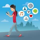 Κινητό σχέδιο κινούμενων σχεδίων ανθρώπων απεικόνιση αποθεμάτων