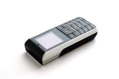κινητό σύγχρονο τηλεφωνικό λευκό ανασκόπησης Στοκ Φωτογραφία
