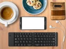 Κινητό σύνολο γραφείων Smartphone ψηφιακής εργασίας νομάδων Στοκ φωτογραφία με δικαίωμα ελεύθερης χρήσης