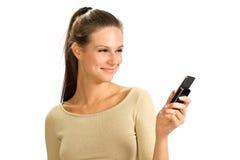 κινητό τηλέφωνο κοριτσιών Στοκ εικόνα με δικαίωμα ελεύθερης χρήσης