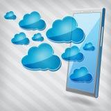 Κινητό τηλέφωνο με τα μπλε εικονίδια υπολογισμού σύννεφων Στοκ φωτογραφίες με δικαίωμα ελεύθερης χρήσης