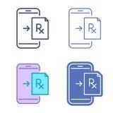 Κινητό τηλέφωνο με το σύμβολο συνταγών Διανυσματικό outli τηλεϊατρικής απεικόνιση αποθεμάτων