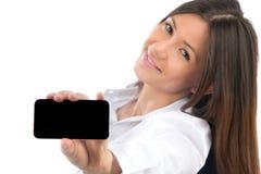 κινητό τηλέφωνο παρουσίασης κυττάρων που εμφανίζει γυναίκα Στοκ Εικόνα