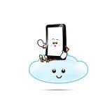 Κινητό τηλέφωνο, έξυπνα τηλεφωνικά κινούμενα σχέδια Στοκ Εικόνα