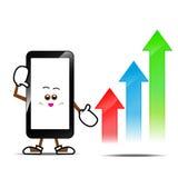 Κινητό τηλέφωνο, έξυπνα τηλεφωνικά κινούμενα σχέδια Στοκ εικόνες με δικαίωμα ελεύθερης χρήσης