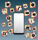Κινητό τηλέφωνο και σύνολο εικονιδίων Στοκ φωτογραφία με δικαίωμα ελεύθερης χρήσης