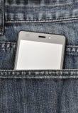 Κινητό τηλέφωνο, κινητό τηλέφωνο στο πίσω τζιν παντελόνι τσεπών Στοκ Εικόνες