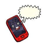 κινητό τηλέφωνο κινούμενων σχεδίων με τη λεκτική φυσαλίδα Στοκ Φωτογραφίες