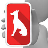 Κινητό τηλέφωνο μέσων σκυλιών σε απευθείας σύνδεση και κυνοειδής τρισδιάστατη απόδοση διανυσματική απεικόνιση