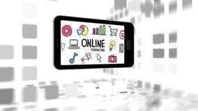 Κινητό τηλέφωνο με τα εικονίδια on-line μάρκετινγκ και επιχειρήσεων ελεύθερη απεικόνιση δικαιώματος