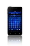 Κινητό τηλέφωνο με την οθόνη συναλλαγματικών ισοτιμιών που απομονώνεται πέρα από το λευκό Στοκ φωτογραφία με δικαίωμα ελεύθερης χρήσης