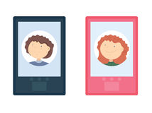 Κινητό τηλέφωνο με τους άνδρες και τις γυναίκες εικονιδίων Στοκ εικόνα με δικαίωμα ελεύθερης χρήσης