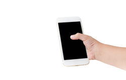 Κινητό τηλέφωνο στο χέρι κοριτσιών που απομονώνεται Στοκ Εικόνες