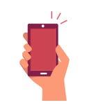 Κινητό τηλεφωνικό διαθέσιμο χτύπημα που απομονώνεται επάνω στο λευκό ελεύθερη απεικόνιση δικαιώματος