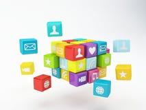 Κινητό τηλεφωνικό app εικονίδιο Έννοια λογισμικού Στοκ φωτογραφίες με δικαίωμα ελεύθερης χρήσης