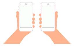 Κινητό τηλεφωνικό smartphone υπό εξέταση Πρότυπα με την κενή οθόνη Στοκ Φωτογραφίες