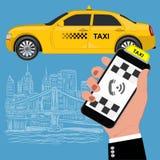 Κινητό app για την κράτηση της υπηρεσίας ταξί Επίπεδη διανυσματική απεικόνιση για την επιχείρηση, πληροφορίες γραφικές, έμβλημα,  Στοκ εικόνα με δικαίωμα ελεύθερης χρήσης