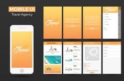 Κινητό app υλικό σχέδιο UI, UX, GUI ταξιδιωτικού γραφείου Απαντητικός ιστοχώρος Στοκ φωτογραφία με δικαίωμα ελεύθερης χρήσης