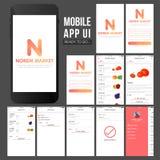 Κινητό App UI σχέδιο on-line αγορών Στοκ φωτογραφία με δικαίωμα ελεύθερης χρήσης