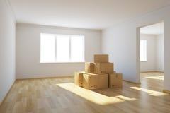 Κινούμενα κιβώτια σε ένα νέο σπίτι διανυσματική απεικόνιση
