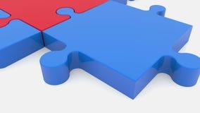 Κινούμενα κομμάτια γρίφων στα κόκκινα και μπλε χρώματα φιλμ μικρού μήκους