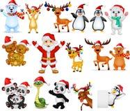 Κινούμενα σχέδια Άγιος Βασίλης με πολύ σύνολο συλλογής ζώων απεικόνιση αποθεμάτων