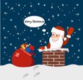 Κινούμενα σχέδια αστείος Άγιος Βασίλης στη στέγη με τα δώρα διανυσματική απεικόνιση