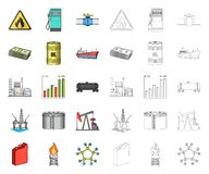 Κινούμενα σχέδια βιομηχανίας πετρελαίου, εικονίδια περιλήψεων στην καθορισμένη συλλογή για το σχέδιο Εξοπλισμός και διανυσματικός διανυσματική απεικόνιση