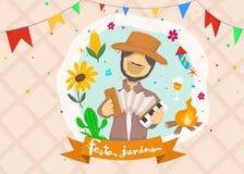 Κινούμενα σχέδια για το του χωριού φεστιβάλ Festa Junina στα λατινικά Εικονίδια που τίθενται στο πολυ χρώμα Διακόσμηση ύφους φεστ ελεύθερη απεικόνιση δικαιώματος