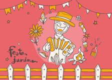 Κινούμενα σχέδια για το του χωριού φεστιβάλ Festa Junina στα λατινικά , doodle ύφος, διακόσμηση ύφους φεστιβάλ διανυσματική απεικόνιση