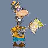 Κινούμενα σχέδια ενός χαμογελώντας τουρίστα με μια κάμερα που εξετάζει το χάρτη Στοκ Εικόνες