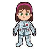 Κινούμενα σχέδια κοριτσιών αστροναυτών Στοκ φωτογραφία με δικαίωμα ελεύθερης χρήσης