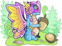 Κινούμενα σχέδια λίγη αστεία απεικόνιση πεταλούδων δράκων διανυσματική απεικόνιση