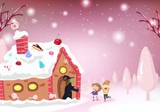 Κινούμενα σχέδια παιδιών και ιστορία φαντασίας, σπίτι καραμελών, μάγισσα, Hansel και γ διανυσματική απεικόνιση
