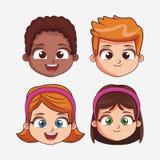 Κινούμενα σχέδια προσώπου παιδιών ελεύθερη απεικόνιση δικαιώματος