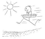 Κινούμενα σχέδια του ευτυχούς ατόμου με το κολυμπώντας δαχτυλίδι που τρέχει στην παραλία μέσα στο νερό διανυσματική απεικόνιση
