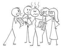 Κινούμενα σχέδια του καταθλιπτικού ατόμου στα χρέη που περιβάλλονται από την ομάδα χρεωστών του που ζητούν τα χρήματα ελεύθερη απεικόνιση δικαιώματος