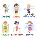Κινούμενα σχέδια των παιδιών που κάνουν τις διαφορετικές δραστηριότητες διασκέδασης διανυσματική απεικόνιση