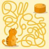 Κινούμενα σχέδια των πορειών ή του παιχνιδιού δραστηριότητας γρίφων λαβυρίνθου με το γατάκι και τις τηγανίτες ελεύθερη απεικόνιση δικαιώματος