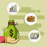 Κινούμενα σχέδια χρημάτων και επένδυσης Στοκ Εικόνα