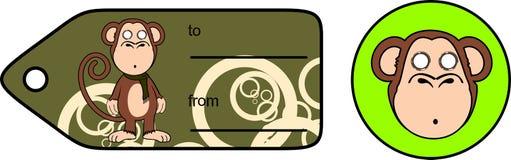 Κινούμενα σχέδια giftcard2 έκφρασης πίθηκων χιμπατζήδων πιθήκων Στοκ Εικόνα