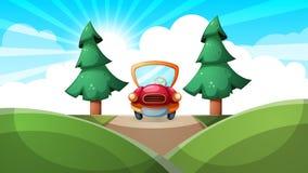 Κινούμενα σχέδια ladscape Αυτοκίνητο, οδική απεικόνιση Στοκ εικόνες με δικαίωμα ελεύθερης χρήσης