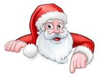 Κινούμενα σχέδια Santa που δείχνουν κάτω από το πίσω σημάδι διανυσματική απεικόνιση