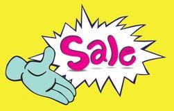 Κινούμενα σχέδια ένα χέρι και πώληση Στοκ φωτογραφία με δικαίωμα ελεύθερης χρήσης